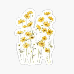 'Yellow Cosmos Flowers' Sticker by JRoseDesign Stickers Cool, Cute Laptop Stickers, Red Bubble Stickers, Tumblr Stickers, Kawaii Stickers, Printable Stickers, Journal Stickers, Planner Stickers, Theme Nature