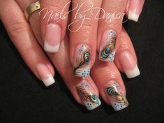 Nail art from the NAILS Magazine Nail Art Gallery, hand-painted, Peacock Nail Designs, Peacock Nail Art, Feather Nail Art, Nail Art Designs, Nails Design, Great Nails, Fabulous Nails, Love Nails, Crazy Nail Art