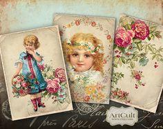 ENCHANTED VINTAGE   Digital Collage Sheet Printable jpg by ArtCult, $4.90