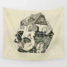 Make your head home. Wall Tapestry. #illustration #nature #graphic-design