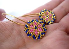 Earrings - Pink and Blue Stars - Bright Pink, Deep Blue and Gold - 24k Gold plated Sterling Silver hoops on Etsy, 380,00 kr