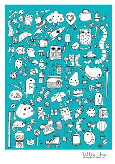 Doodle Drawing  Illustration Print by littlethee on Etsy, £5.00