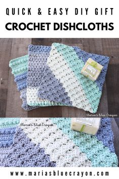 Crochet washcloths are so great for the bath and can be used over and over again. Below are three different crochet washcloth patterns that you can quickly whip up with some cotton yarn! Crochet Dish Towels, Crochet Dishcloths, Tunisian Crochet, Crochet Gratis, Free Crochet, Knit Crochet, Patron Crochet, Crochet Dolls, Crochet Hot Pads