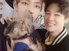 Is it just me, or does it seem like V and Jimin are always finding and taking pictures with cute animals?