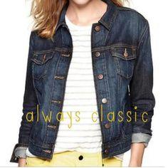 "Selling this ""GAP dark denim fitted jacket, S"" in my Poshmark closet! My username is: kmadeoy. #shopmycloset #poshmark #fashion #shopping #style #forsale #GAP #Jackets & Blazers"