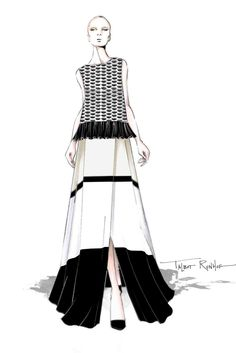 """""""Effortless elegance, only the way a woman who is on a perpetual vacation could wear them."""" — Talbot Runhof Sketch"""
