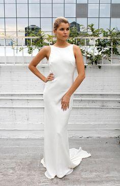 ALLURE: Silk bias cut wedding dress with train, High neck, Low back, Simple wedding dress