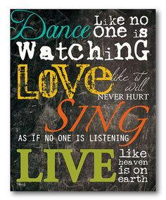 Look what I found on #zulily! 'Dance, Love, Sing & Live' Wall Art #zulilyfinds