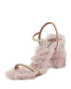MIU MIU Furry Pearlescent Sandal, Neutral. #miumiu #shoes #