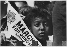 Original Caption: Photograph of a Young Woman at the Civil Rights March on Washington, D.C. with a Banner, 08/28/1963