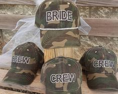 Bride hat plus 3 Team Bride Hat Package deal for Bachelorette Party! Bride to Be Hat and Bride Squad Hats, Bridal Party Hats - Bachelorette Party Hats-set of 4 Camouflage Bride Crew Hats-Many Hat styles and colors to choose fr - Softball Wedding, Golf Wedding, Wedding Hair, Wedding Dress, Camo Bridal Showers, Mens Casual Wedding Attire, Bachelorette Party Themes, Military Wedding, Team Bride