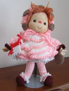 Adorable Vintage Style OOAK Hand Crocheted Doll