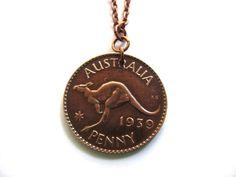 Australian Coin Necklace Pendant 1939 Penny Australia Kangaroo Handmade Jewelry by Hendywood - Hendywood