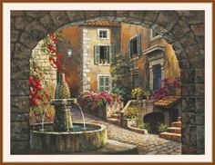 Global Gallery 'Fountain de Village' by Sung Kim Original Painting on Wrapped Canvas Size: Landscape Art, Landscape Paintings, Belle Image Nature, Pintura Exterior, Foto Art, Beautiful Paintings, Fountain, Fine Art Prints, Canvas Art