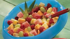 Looking for a fruity side dish? Then check out this ginger flavored salad packed with watermelon, cantaloupe, pineapple, grapes and berries – a fresh meal.