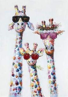 Peinture à l'huile colorée avec image de girafe