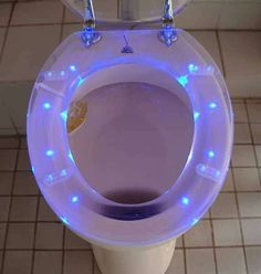 GALACTIKA toilet seats are a transparent bathroom addition that use tiny ultra-bright LEDs to produce a gemlike glow. The sparkling seating is powered by 4 AA batteries. Not only are they lusciously luminous, the colorful LED lamps slowly build in intensity for the first 5 seconds after the lid is lifted. When the cover is closed, the lights gently power down, but if the cover is left open, the toilet seats shut off after 30 minutes.