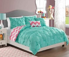 TEEN GIRLS Turquoise Pink White REVERSIBLE PINTUCK CHEVRON Comforter SET TWIN