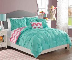 TEEN GIRLS Turquoise Pink White REVERSIBLE PINTUCK CHEVRON Comforter SET TWIN