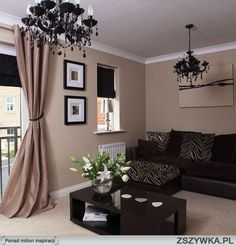 Mocha wall with black accents