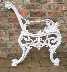 Great set of Andrew McLaren bench ends, sandblasted and primed and ready for new paint and hardwood slats Cast Iron Garden Bench, Cast Iron Bench, Settee, Armchair, Victorian Benches, Iron Work, Cher, Outdoor Furniture, Outdoor Decor