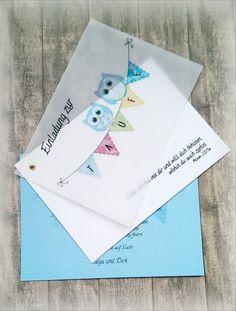 Einladung Einladungskarte Taufe Geburt Eule von CARD-YA Kreatives aus Papier auf DaWanda.com