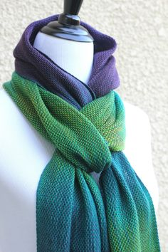 "Hand woven scarf with gradually changing colors from green to purple. Amazing color shades and color variety. Measures: L: 78"" with 6"" fringe on both ends W: 11"" Care instr... #kgthreads #accessories #cozy #fall #fashion #gift #gradient #peacock #unisex #women #wrap"