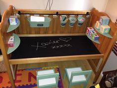 Cot repurposed in to a desk for Xavier's first birthday! Cot repurposed in to a desk for Xavier's first birthday! Selling Furniture, Furniture Logo, Baby Furniture, Cool Furniture, Furniture Movers, Furniture Stores, Crib Desk, Old Bed Frames, Old Cribs