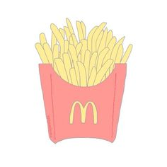 overlay, food, and fries image Tumblr Drawings, Cute Drawings, Laptop Stickers, Cute Stickers, Suitcase Stickers, Food Stickers, Transparents Tumblr, Theme Divider, Tumblr Png