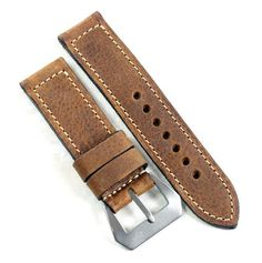 "MP XXI ""Absolutely Mario"" vintage leather with Natural Pre-V buckle. This strap is made of Vintage leather and is thick. Perfect on both a Luminor or Radiomir. Panerai Watches, Vintage Leather, Mario, Accessories, Products, Gadget, Jewelry Accessories"