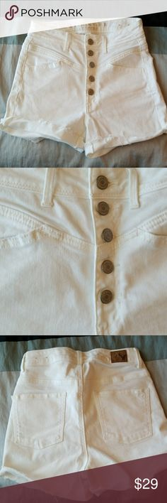 American Eagle Stretch Hi Waisted Shorts sz 2 Extemeley high waisted white size 2 shorts from ae. Worn and washed appx. 1 time in excellent condition American Eagle Outfitters Shorts