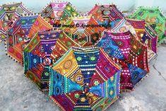 4944330578afc 3 Pcs Lot Indian Wedding Umbrella Decoration Mirror Work Vintage Parasols  Handmade embroidery Elephant Umbrella Decorations Cotton Umbrellas