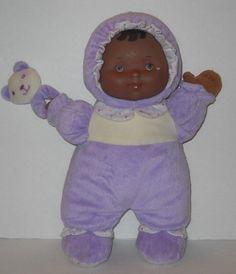 """Berenguer Doll Purple Plush Baby Doll Brown Skin Vinyl Face Crinkle Rattle 13"""" #Berenguer #Dolls"""