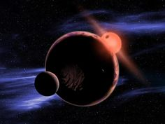 The artist's conception shows a hypothetical planet with two moons orbiting in the habitable zone of a red dwarf star.