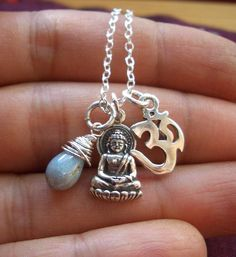 Om Buddha necklace with wrapped blue Czech von jeweledessentials