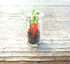 Miniature Carrot, Vegetable Garden, Clay Carrot, Miniature Vegetable, Harvest, Carrot in Dirt, Carrot Charm, Bottle Charm, Doll House Food