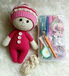 Amigurumi Knit Cap Baby Girl (Explained) – Knit, Ã … - Babysachen Cactus Amigurumi, Mini Amigurumi, Amigurumi Animals, Amigurumi Toys, Amigurumi Patterns, Doll Patterns, Knitting Patterns, Crochet Motifs, Crochet Doll Pattern