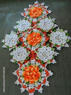 Wilma Crochê: Centro de Mesa Camélias Laranjas
