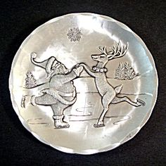 Wendell August Aluminum Christmas Plate Skating Santa and Reindeer