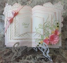 Rose Layered Open Book Stand SVG on Craftsuprint designed by Tina Fitch… Fancy Fold Cards, Folded Cards, Card Book, I Card, 3d Templates, Crafters Companion Cards, 3d Rose, Handmade Birthday Cards, Handmade Tags