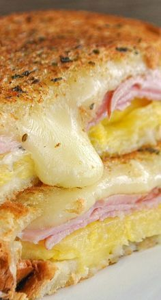 Hawaiian Grilled Cheese...the flavors of the sweet pineapple, canadian bacon and monterey jack cheese melt together to make a fabulous sandwich!
