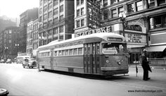 CTA PCC 4265, heads north on State at Lake in 1948 near the State-Lake Theater.