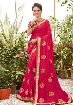 Buy Magenta Chanderi Silk Festival Wear Saree 201612 with blouse online at lowest price from vast collection of sarees at Indianclothstore.com. Chanderi Silk Saree, Lehenga Choli, Silk Sarees, Sari, Celebrity Gowns, Buy Sarees Online, Blouse Online, Neck Deep, Net Saree