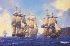 Jack Aubrey's Commands - by Geoff Hunt, RSMA  (left to right) HMS Leopard, HMS Surprise, HMS Bellona, HMS Sophie