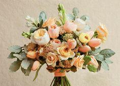 soft orange tulip bride's bouquet