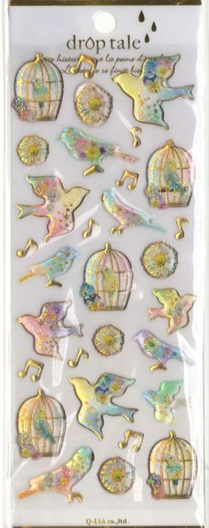 Kawaii Japan Sticker Sheet Assort Droptale Series: Glittery Birds Parakeets Budgies with Cages Musical Notes Stars by mautio on Etsy