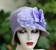 1920's Cloche Hat in Lavender Lace Bow | creationsbygail - Accessories on ArtFire