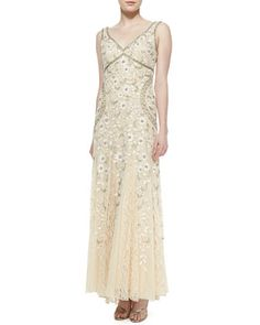 Sleeveless Beaded Lace Bottom Gown by Sue Wong at Neiman Marcus.
