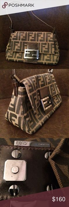 "Authentic Fendi brown purse Authentic Fendi brown Zucca print purse. Made in Italy. Great condition. 8 1/2"" long, 5 1/2"" high, 4"" wide at bottom Fendi Bags Mini Bags"