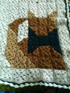 Close up of Cat Granny Square Afghan